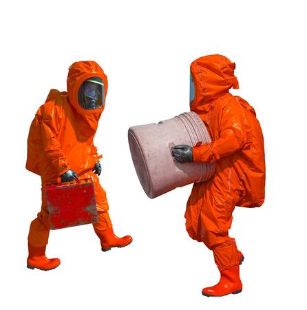 gasmask: Isolated man in orange protective hazmat suit