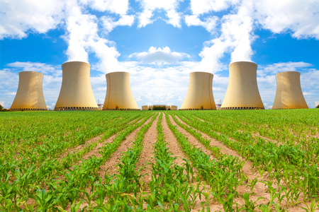 Thermal power plant with corn field