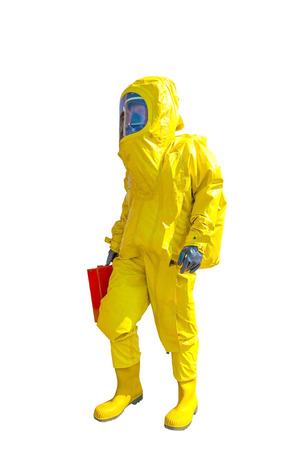 radiation protection suit: Man in yellow protective hazmat suit isolated on white