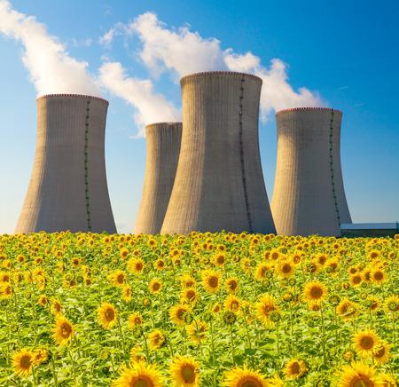 dukovany: Nuclear power plant Dukovany with sunflower field, Czech Republic Stock Photo
