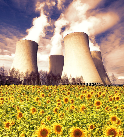 Nuclear power plant Temelin with sunflower field, Czech Republic