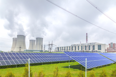 dukovany: Nuclear power plant Dukovany with solar panels in Europe Czech Republic