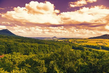 Summer landscape at sunset.Central Bohemian Uplands, Czech Republic. Stock Photo