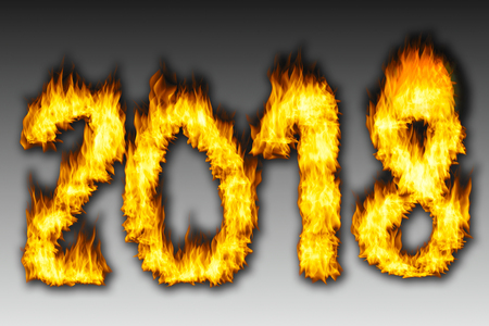 Number 2018 from fire with gray background. Happy New Year 2018 Stock Photo