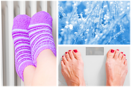 Feet on person scales, winter and relaxation concept