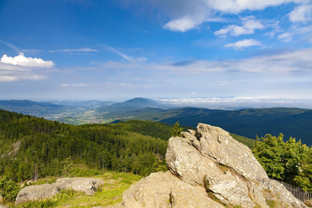 Summer landscape in Bayerische Wald National Park, view from the Grosser Osser Mountain in the Bavarian Forest National Park, Germany. Imagens