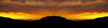 Landscape at sunset. Rural countryside in Czech Republic. Stock Photo