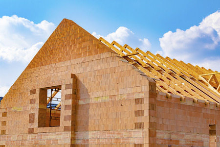 Wooden roof truss, house roof under construction