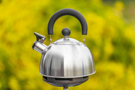 Metal kettle on a gas cooker on green background