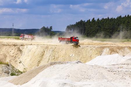The red dump truck. Kaolin quarry in Czech Republic.
