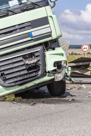 View of truck on a highway in an accident