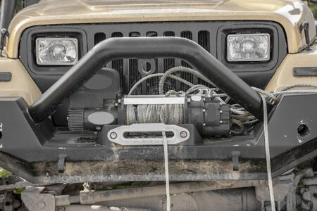 Off road car winch-towing system Stockfoto