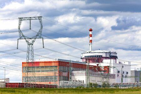 Reactor of nuclear power plant Temelin in Czech Republic.Cloudy sky. Stockfoto