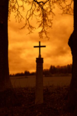 Christian cross at sunset. Silhouettes of trees.