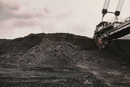 Giant bucket wheel excavator in coal mine
