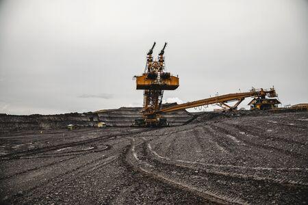 Giant bucket wheel excavator, coal mine