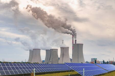 Thermal power plant with solar panels in Czech Republic Europe Stock Photo