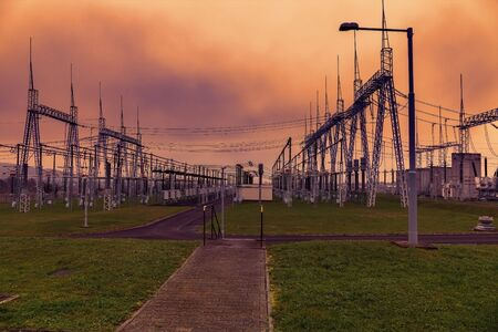 Electrical power station. Sunset sky. Stock Photo
