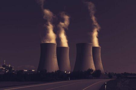 Nuclear power plant Temelin, Czech Republic. Dark sky. Stock Photo