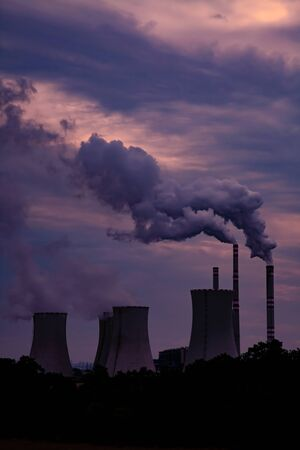 Thermal Power Plant at Sunset