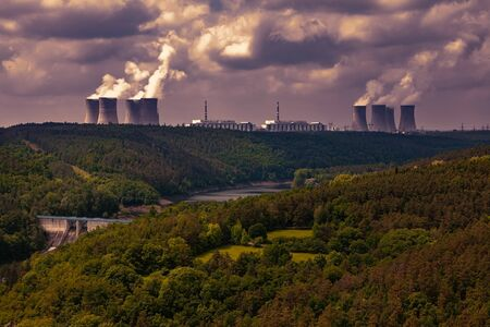 Nuclear power plant Dukovany in Czech Republic Europe. Sunset sky. Stock Photo