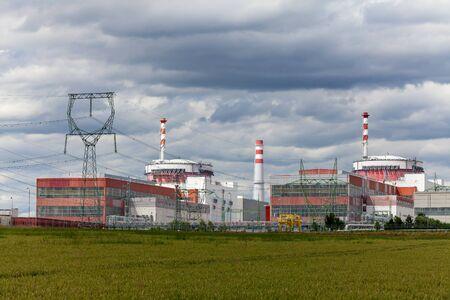 Reactor of nuclear power plant Temelin in Czech Republic. Cloudy sky.