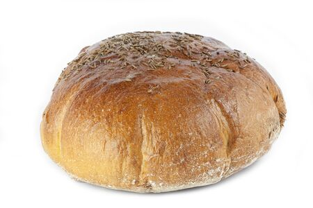 Small bread sprinkled on white background