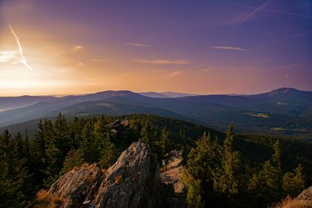 Summer landscape at sunset in Bayerische Wald National Park, view from mountain Grosser Arber, Germany.