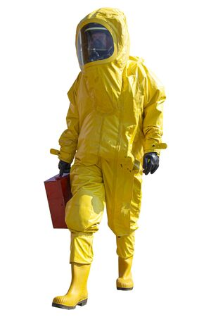 Isolated man with briefcase in protective hazmat suit.Epidemic virus.