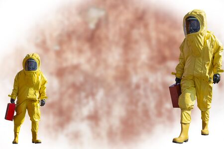 Isolated mans in protective hazmat suit. Epidemic virus.