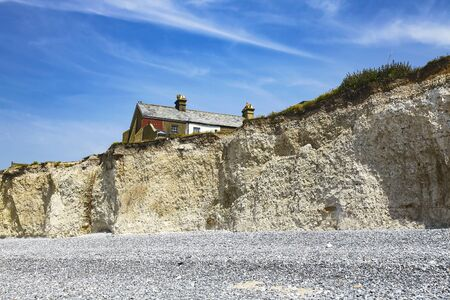 Seven Sisters, East Sussex, England, the UK; a view of the beach and the cliffs.