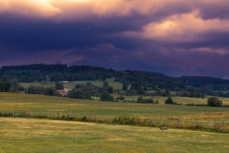 Sunset over the Sumava national park in Czech Republic