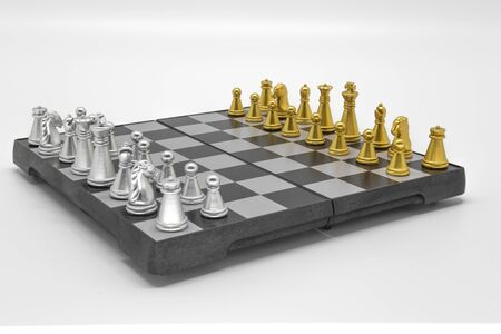 Chess pieces on a board over a white background