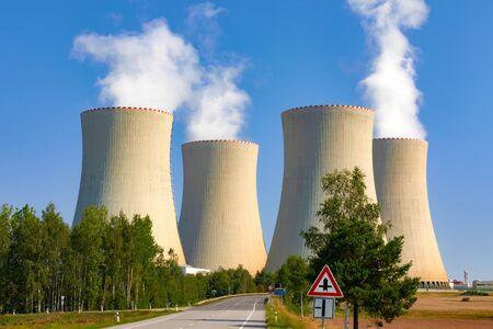 Nuclear power plant Temelin in Czech Republic Europe. Blue sky.