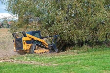 Small excavator destroy trees in field.