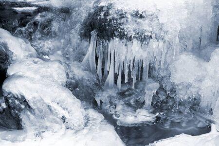 Frozen waterfall and snow.Winter season. Stock Photo