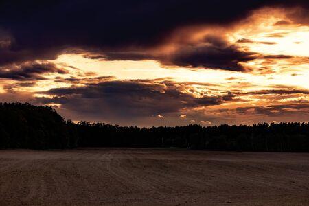 Beautiful autumn landscape at sunset