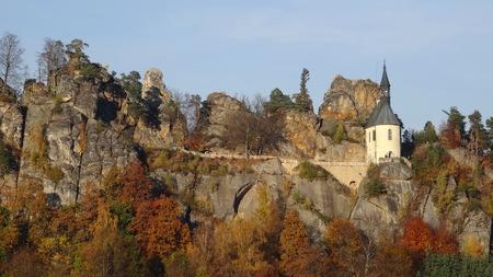 stoney point: View on Vranov Pantheon, Bohemian paradise, Czech republic Stock Photo