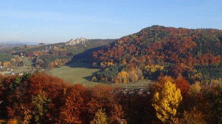 stoney point: View on Suche skaly, Bohemian paradise, Czech republic