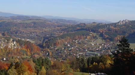 stoney: View on Vranov castle ruin and Suche skaly, Mala skala, Bohemian paradise, Czech republic