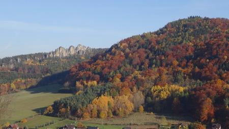 stoney point: View on Suche skaly, Mala skala, Bohemian paradise, Czech republic Stock Photo