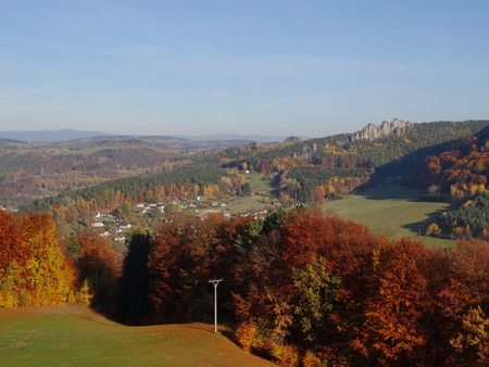 stoney point: View on Suche skaly, Mala skala, Bohemian paradise, Czech republic Stock Photo