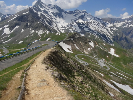High mountain roads and the Grossglockner mountain in Austria