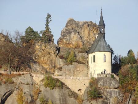 stoney point: View on Vranov castle ruin, Mala skala, Bohemian paradise, Czech republic