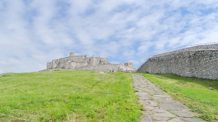 Inside the walls of Spis Castle with panorama of meadows - Spissky hrad National Cultural Monument (UNESCO) ruins of medieval castle, Slovakia
