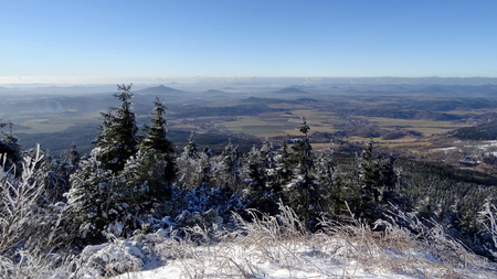 inversion: Winter view from Jested hill, Liberec District, Czech Republic.