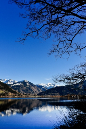 zell am see: Zell am See mountain lake view Stock Photo
