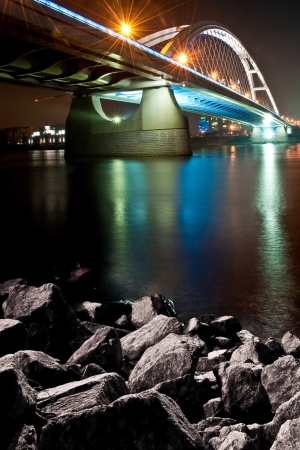 Bratislava Apollo bridge at night