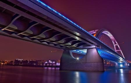 bratislava: Bratislava Apollo bridge at night