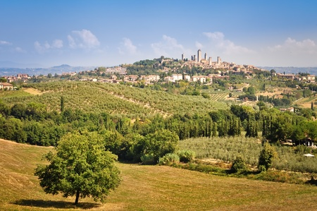 San Gimignano landscape view with fields and meadows Stock Photo - 10872244